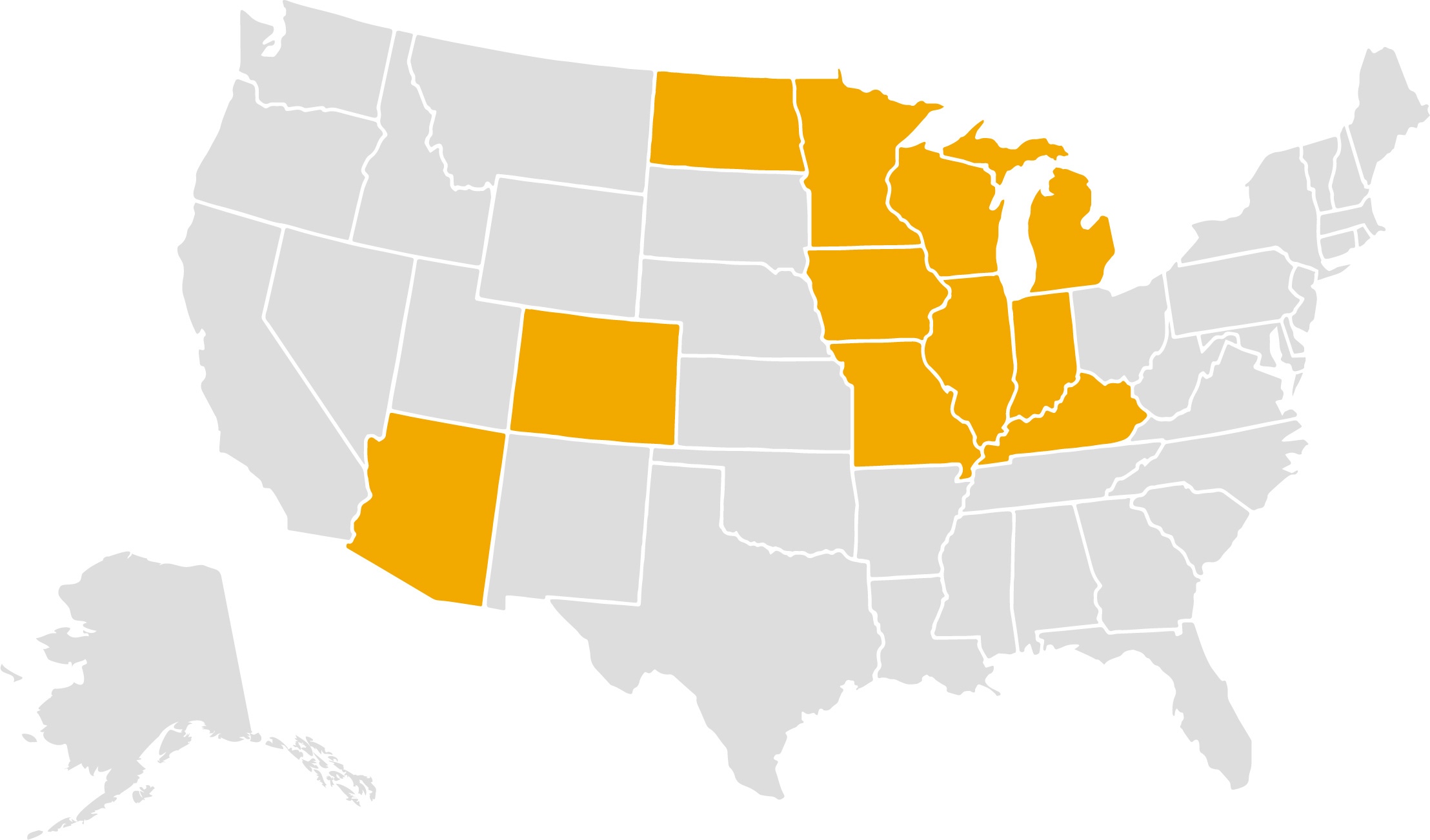 SECURA Home and auto coverage map.